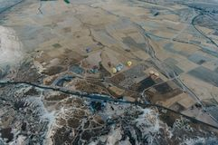 Aerial view of Hot air balloons in Goreme national park, fairy chimneys,. Cappadocia, Turkey royalty free stock images