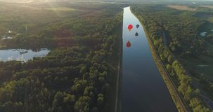 Hot air balloons in sky stock video footage