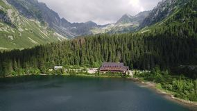 Aerial view of hotel in beautiful mountains stock video footage