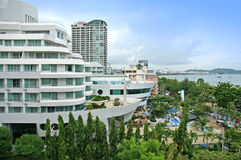 Aerial view of a hotel building and beach at pattaya, Thailand Stock Image