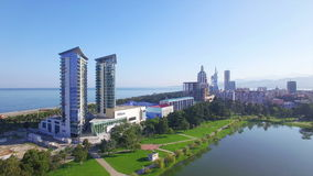 Aerial view of hotel Hilton in Batumi stock footage