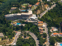 Aerial view of a hotel in Paleokastritsa in Corfu Royalty Free Stock Image