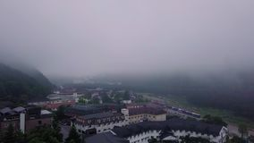 Aerial View of Hotel Roofs at Misty Morning at Sokcho Near Seoraksan National Park in South Korea. Shot with a DJI Mavic fps29,97 4k stock footage