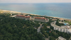 Aerial view of hotels in Turkey resort with at summer cloudy day stock video