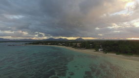 Aerial view of house on coast and Mauritius with ocean stock video