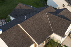 Aerial View House, Home Roof Shingles. Aerial view of a house or home showing a closeup detail of the roof shingles royalty free stock photos