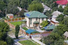 Aerial view of a house with roof , Ukraine. Royalty Free Stock Image