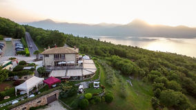 Aerial view of the house of spirits, famous restaurant on Lake G Royalty Free Stock Images