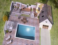 Aerial view of house under construction stock illustration