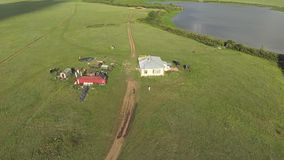 Aerial view of house in the wild steppe of Kazakhstan stock footage