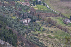 Aerial view of a house in the wineyard in the country, Gubbio, A Royalty Free Stock Image