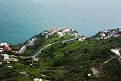 Aerial view of houses on the coast Stock Photo