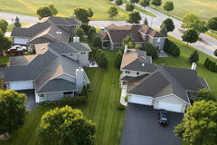 Aerial View Houses, Homes, Subdivision, Neighborhood. Aerial view of houses and comes in a community subdivision. You can see each house and home is a new modern Royalty Free Stock Photography