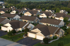 Aerial View Houses, Homes, Subdivision, Neighborhood. Aerial view of houses and comes in a community subdivision. You can see each house and home is a new modern Royalty Free Stock Photos