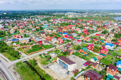 Aerial view of houses on housing estates. Tyumen Stock Photo