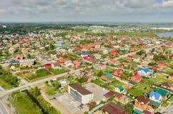 Aerial view of houses on housing estates. Tyumen Stock Image