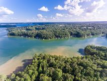 Aerial view of houses in Lake Lanier during Summer time royalty free stock image