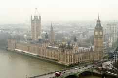 Aerial View of the Houses. Of Parliament, London, UK stock photo