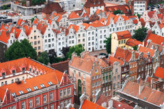 Aerial view of houses with red roofs, Gdansk, Poland Royalty Free Stock Photography