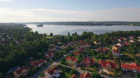 Aerial view of houses in Sweden stock footage