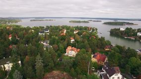 Aerial view of houses in Sweden. In summer stock video footage