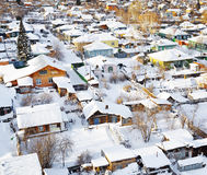 Aerial view of houses at winter season Royalty Free Stock Photo