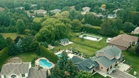 An aerial view of a housing subdivision stock video footage