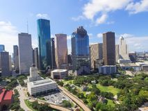 Aerial view Houston downtown and Gulf Freeway at daytime. Aerial view Houston downtown and Gulf Freeway highway I45. Daytime cityscape with cloud blue sky Royalty Free Stock Images
