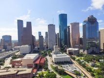 Aerial view Houston downtown and Gulf Freeway at daytime. Aerial view Houston downtown and Gulf Freeway highway I45. Daytime cityscape with cloud blue sky Royalty Free Stock Photos