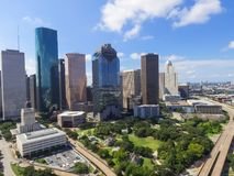 Aerial view Houston downtown and Gulf Freeway at daytime. Aerial view Houston downtown and Gulf Freeway highway I45. Daytime cityscape with cloud blue sky Royalty Free Stock Image