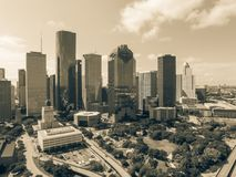 Aerial view Houston downtown and Gulf Freeway at daytime Royalty Free Stock Photo