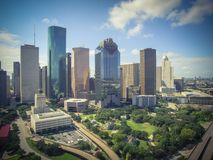 Aerial view Houston downtown and Gulf Freeway at daytime Royalty Free Stock Images