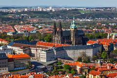 Aerial view of Hradchany: the Saint Vitus St. Vitt`s Cathedral Stock Images