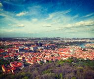 Aerial view of Hradchany: the Saint Vitus (St. Vitt's) Cathedral. Vintage retro hipster style travel image of aerial view of Hradchany part of Prague: the Saint Royalty Free Stock Image