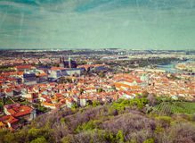 Aerial view of Hradchany: the Saint Vitus (St. Vitt's) Cathedral. Vintage retro hipster style travel image of aerial view of Hradchany part of Prague: the Saint Royalty Free Stock Photo