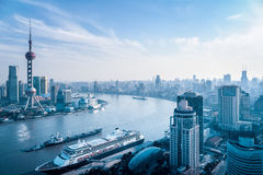 Aerial view of huangpu river Royalty Free Stock Photo