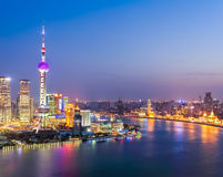 Aerial view of huangpu river in nightfall Stock Images