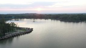 Aerial view Huay Tung Tao Lake in Chiangmai, Thailand. stock footage