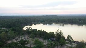 Aerial view Huay Tung Tao Lake in Chiangmai, Thailand. stock video footage