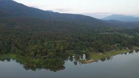 Aerial view Huay Tung Tao Lake in Chiangmai, Thailand. stock video