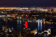Aerial view of Hudson River at night in New York Royalty Free Stock Photography