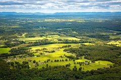 Aerial view of the Hudson Valley farm land. As viewed from Gertrude`s Nose hiking trail royalty free stock image