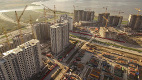 Aerial view of huge construction site Stock Photo