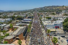 Aerial view of huge crowds on Sunset Boulevard during Black Lives Matter protests in Los Angeles