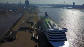 Aerial view of huge cruise ferry in Riga, Latvia. Aerial view of the huge cruise ferry Tallink docked in Riga, Latvia stock video