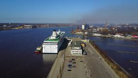 Aerial View of Huge Cruise Ferry in Riga, Latvia. Aerial view of the huge cruise ferry Tallink docked in Riga, Latvia stock footage
