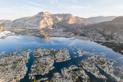 Aerial View of Huge Lake and Sierra Nevada Mountains in California