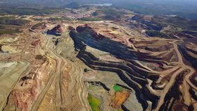 Aerial view of huge, modern open pit mine