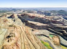 Aerial view of huge, open pit mine. Aerial view of huge, modern open pit mine in Minas de Riotinto, Andalusia, Spain Royalty Free Stock Photo