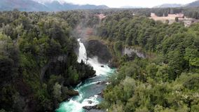 Aerial view of Huilo Huilo waterfall in southern Chile. Aerial view of Huilo Huilo waterfall, located inside Huilo Huilo Biological Reserve in southern Chile stock video footage
